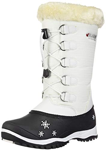 Baffin Girls' Emma Snow Boot, White, 5 Youth US Big Kid (Boot Leather Baffin)