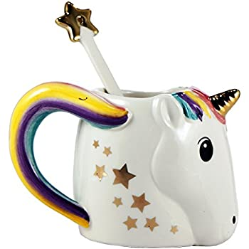Two's Company 42941 Be A Unicorn Mug with Metallic Star Stirrer in Gift Box, White
