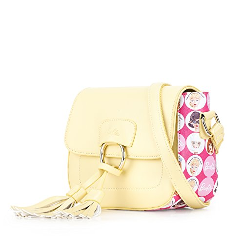 Barbie Bolso bandolera y baguette elegante de estilo chicas bolso casual con borlas para mujer BBFB582 26x10x17CM amarillo