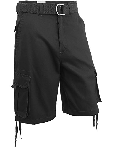 Hat and Beyond Mens Twill Cargo Shorts with Belt Loose Fit Cotton Multi Pocket Outerwear (42/1ih03_Black)