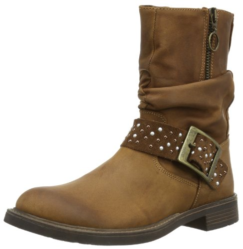 md Bootee Bottes Enfant braun Brown Wrinkle Tania With Showzip Oiled Strap Leather Mixte Studds Gattino Marrone And H5Oqq8