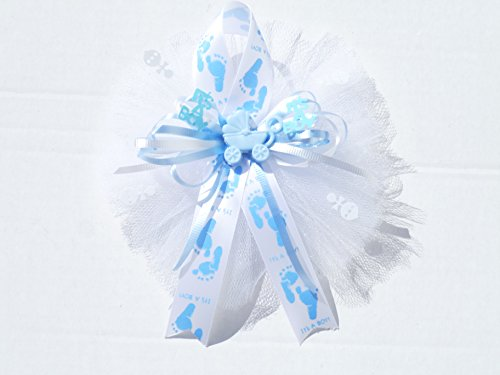 Grandma Baby Shower (Blue Baby Feet It's a Boy Baby Shower Themed Corsage for Grandma ,Aunt or Host Boy ( Blue, White))