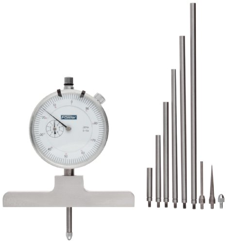 Dial Depth Gauge - Fowler Full Warranty Steel X-Series Depth Gauge with Satin Chrome Finish, 52-125-006-1, 0-22