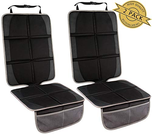 Lyork Car Seat Protector,(2 Pack) Large Auto Car Seat Protectors for Child Baby Safety Seat,Thick Padding Carseat Kick Mat with Organizer Pockets,Vehicle Dog Cover Pad for SUV Sedan Leather Seats