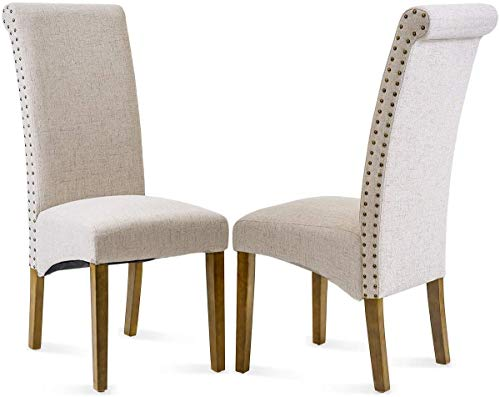 MIERES Dining Set of Fabric Padded Side Chair with Solid Wood Legs, Nailed Trim Beige