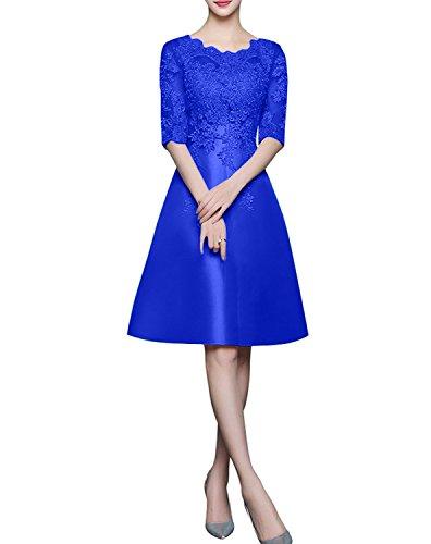 Abendkleider Ballkleider Royal Braut Knielang Knielang Blau Festlichkleider Brautjungfernkleider Langarm Spitze mit La mia Gruen wpqwf1