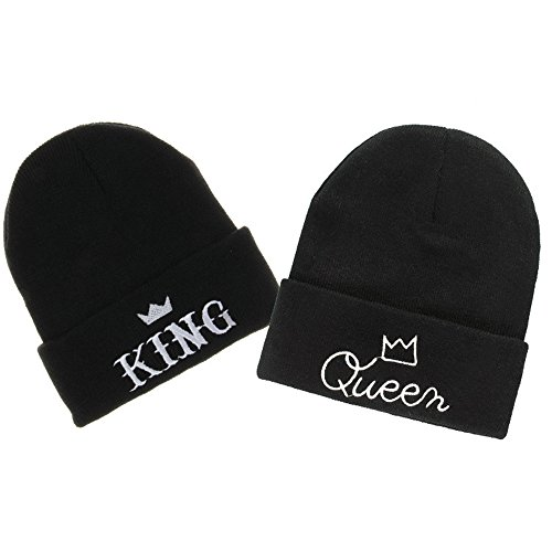 MIUNIKO Couples Lovers Fashion King and Queen Winter Warm Knit Skull Cap SkiBeanie Hats, 2-Piece Set Black