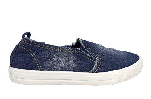 Scarpe Casual Da Donna Alla Moda Couture Pesca Antiscivolo Slip On Sneakers Denim Blu Scuro