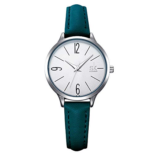 SK SHENGKE Ladies Watches Round Women Watches on Sale Leather Band Small Quartz Analog Fashion Watches (K8064-Green)