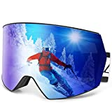 Zacro Pro Ski Snowboard Goggles Anti Fog - Magnetic Interchangeable Lens Over Glasses Snow Skiing Goggles for Men Women Youth
