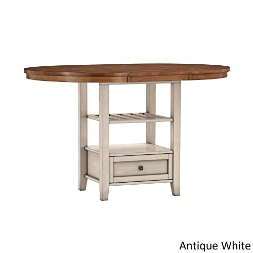 Oval Pedestal (iNSPIRE Q Eleanor Solid Wood Oval Extendable Counter ight Pedestal Base Dining Table by Classic Antique White Oak Finish, Off-White Finish)