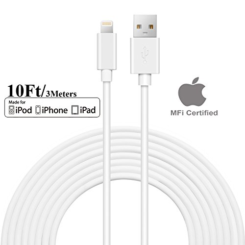 [Apple MFi Certified] SEGMOI 10Ft/3M Extra Long Lightning to USB Cable Data Sync Charger Cord for Apple iPhone X 8 7 6 6S Plus 5 5S 5C iPad 4 Mini Air Pro (White)