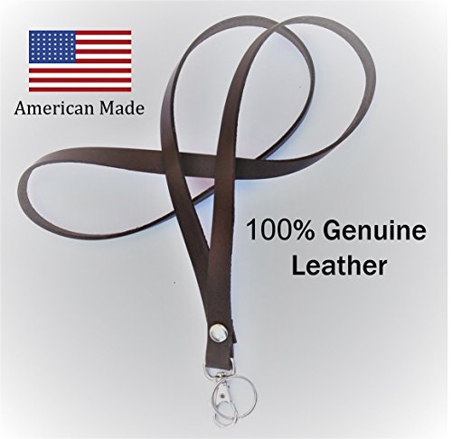100% Genuine Leather – Strong  high quality handmade lanyard. Great for attaching keys, ID cards, USB drives, teacher appreciation… American Made -…