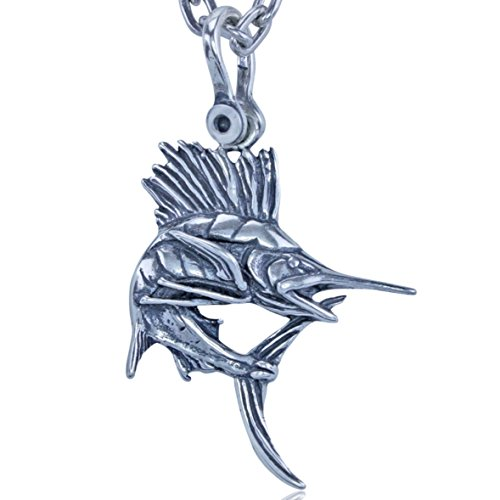 KeyLimeBay Sailfish Pendant Crafted in Sterling Silver on a Sturdy 22