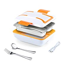 EtechMart 110V Portable Electric Heating Lunch Box w/ Removable 3-Compartment Stainless Steel Container Orange