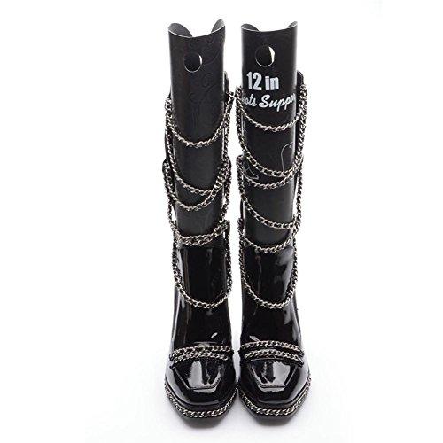 zapatos Las de BLACK corto botas 39 Martin cálido de piel tacones mujeres altos cadena de 34 BLACK rvqvES
