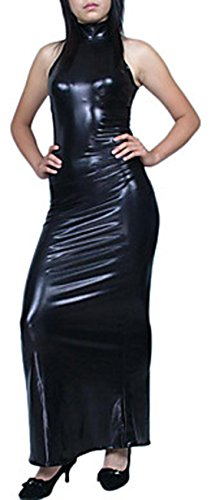 Damenkleid von Maxikleid glänzend Howriis metallisch Schwarz ärmellos 0qr0Rw6