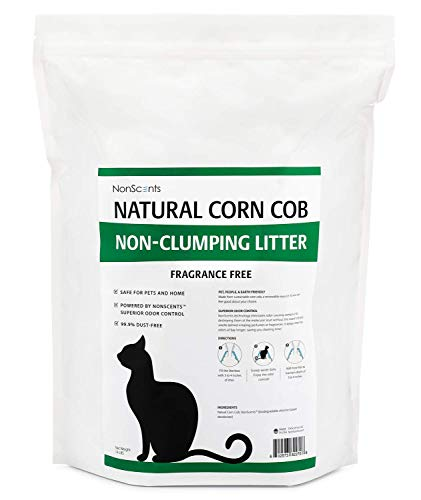 NonScents Non-Clumping Natural Corn Cob Cat Litter Odor Control Technology, Fragrance Free (11 Pounds)