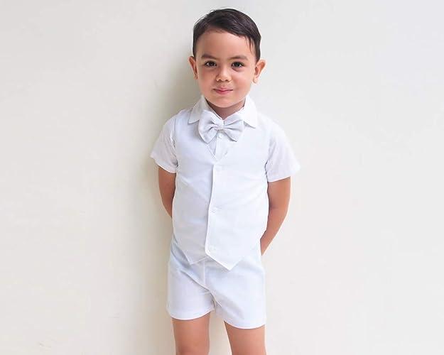 a31785f325bc0 Amazon.com: 4pcs Boy Linen Suit - White, Linen Pants, Boy Linen ...
