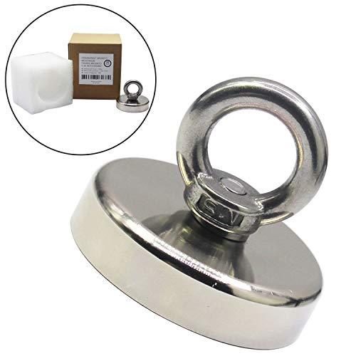HongsMarket 308LB(140KG) Powerful Neodymium Fishing Magnets with Black Epoxy Bond, Magnetic Grade N38 Diameter 2.36(D60mm) Round Neodymium Magnet with Eyebolt - Magnet for River or Lake Fishing