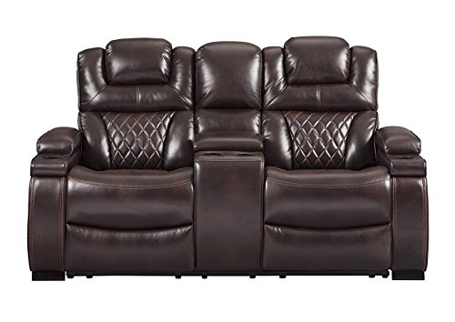 Signature Design by Ashley 7540718 Warnerton Power Reclining Loveseat with Console, (Dual Power Reclining Sofa)
