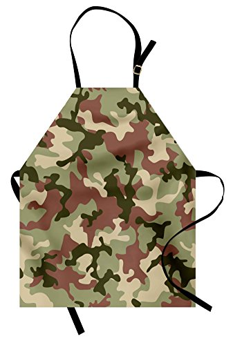 Ambesonne Camo Apron, Illustrated Green Camouflage in Forest Colors Hunter Theme, Unisex Kitchen Bib Apron with Adjustable Neck for Cooking Baking Gardening, Dark Green ()
