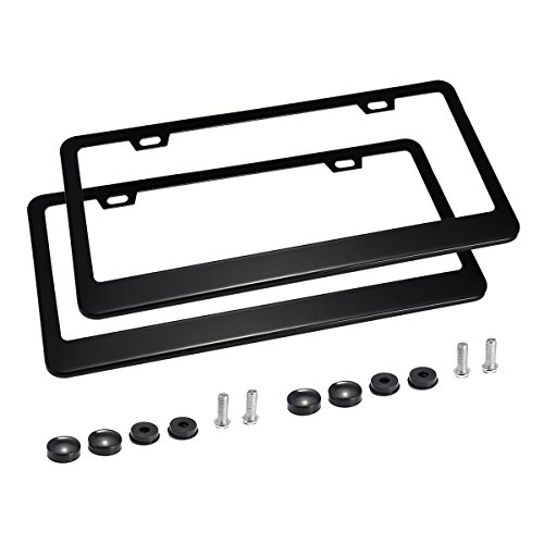 (PATHONOR 2 PCS License Plate Frames, 2 Holes Black Stainless Steel Car License Plate Frame with Chrome Screw Caps)