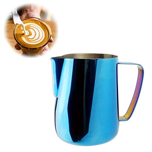 Milk Jug 0.3-0.6L Stainless Steel Frothing Pitcher Pull Flower Cup Coffee Milk Frother Latte Art Milk Foam Tool Coffeware, Capacity:350ml Premium Material (Color : Blue) by SHIFENX