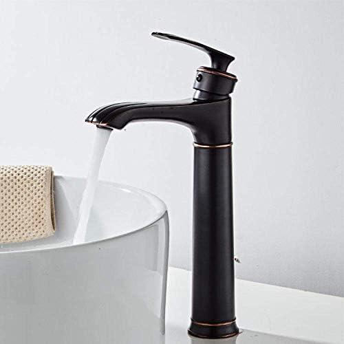Zxyan 蛇口 立体水栓 バスルームのシンクは、スロット付き浴室の洗面台のシンクホットコールドタップブラック古代ブラック蛇口浴室キャビネット洗面の蛇口、洗面台、ホットとコールド蛇口全銅ヨーロッパスタイルのペイントスプレータップ トイレ/キッチン用