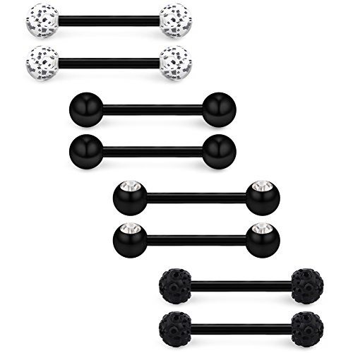 Black Tongue Ring (Ruifan 14G 9/16Inch Crystal Ball Nipple Tongue Shield Ring Barbell Body Piercing Jewelry Retainer 8PCS - Black)