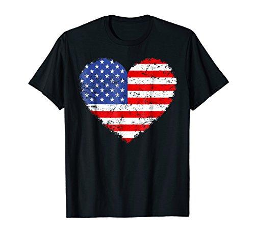 USA Flag Heart T Shirt 4th July Red White Blue Stars ()