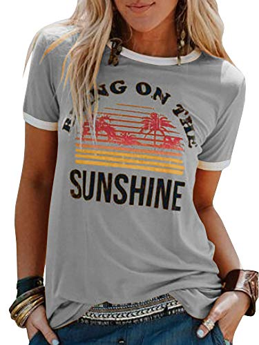 - Chuanqi Women Bring On The Sunshine Printed T-Shirt Causal Loose Christian Graphic Tees Short Sleeve Summer Blouses Tops Grey