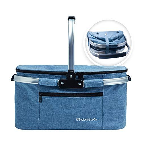 Beckworth & Co. SmartFold Picnic Basket - Foldable Collapsible Insulated Picnic Basket 32L - Blue (Basket Flat Collapsible)