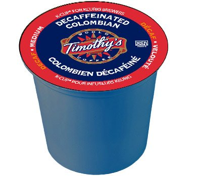 Timothy's World Coffee DECAF Colombian 4 Boxes of 24 K-Cups for Keurig Brewers