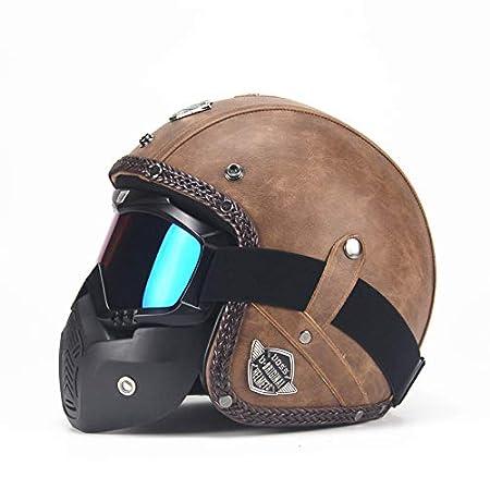 ETbotu Unisex PU Leather Helmets 3/4 Motorcycle Chopper Bike Helmet Open Face Vintage Motorbike Helmet with Goggle Mask black L