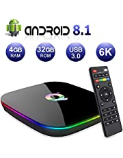 Android TV BOX,Q PLUS Android 8.1 TV BOX 4GB RAM/32GB ROM H6 Quad-Core Supporto 2.4Ghz WiFi 6K HDMI DLNA 3D Smart TV BOX