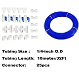 Malida RO Systems Water purifiers Pipe Fittings 1/4 inch tubing 32Ft 10meter,Quick Connector 25pcs.