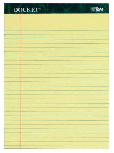 TOPS Docket Writing Tablet, 8-1/2 x 11-3/4 Inches, Perforated, Canary, Legal/Wide Rule, 50 Sheets per Pad, 3 Pads per Pack (63433)