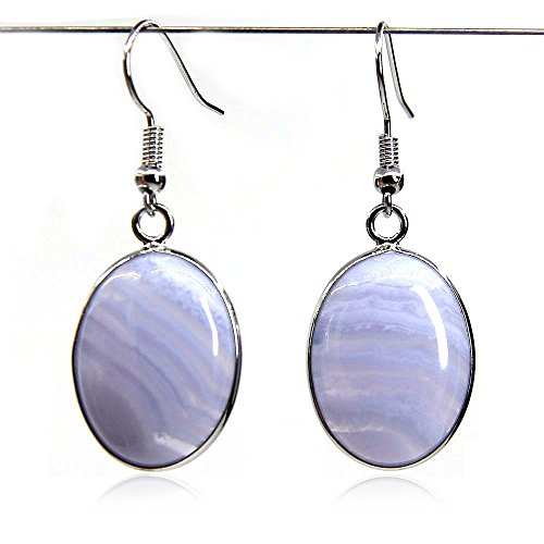 Natural Blue Lace Agate with Silver Plated Copper Hook Charm - Earrings Agate Agate Blue