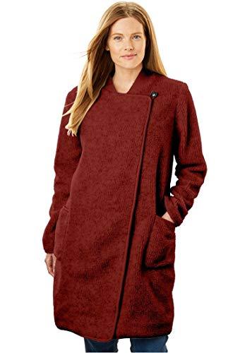 Woman Within Plus Size Rib Knit Collar Berber Jacket