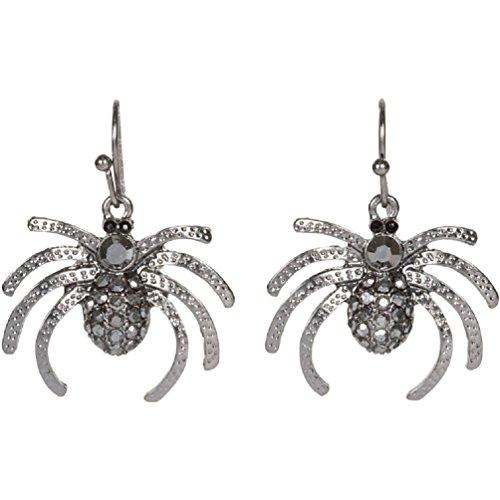 Heirloom Finds Dark Grey Crystal Spider Dangle Earrings