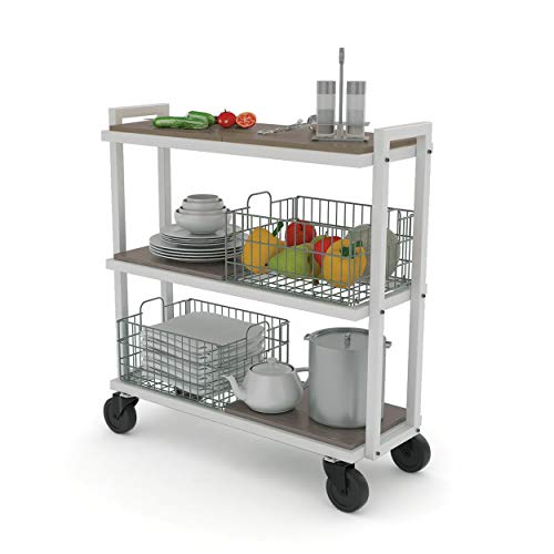 (Atlantic Cart System 3 Tier Cart - Wide Mobile Storage, Interchange Shelves and Baskets, Powder-Coated Steel Frame PN23350328 in White)