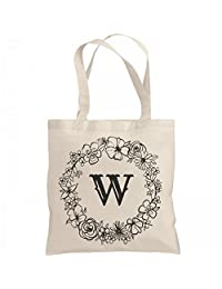 Cute Initial W Floral Gift: Liberty Bags Canvas Bargain Tote Bag