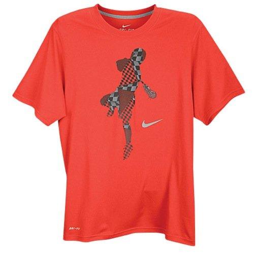 Nike Men's Dri-FIT Legend Short-Sleeve Lacrosse T-shirt Charcoal Red/smoke (Large)