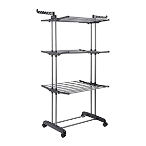 Jusdreen 3 Tier Rolling Clothes Drying Rack Clothes Garment Rack Adjustable Laundry Rack with Foldable Wings Shape Indoor/Outdoor Standing Airfoil-style Rack Hanging Rods - Gray & Electroplate