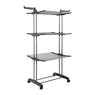 Jusdreen 3 Tier Rolling Clothes Drying Rack Clothes Garment Rack Adjustable Laundry Rack with Foldable Wings Shape Indoor/Outdoor Standing Airfoil-style Rack Hanging Rods - Gray & Electroplate - Material:iron pipe(surface electroplating treatment)+plastic Size:19.68(W) X 30.12(L) X 66.14(H) inches Simple construction:convenient assembly(instruction for installation include) - laundry-room, entryway-laundry-room, drying-racks - 41oTKzE5 BL. SS400  -