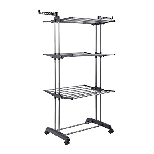 Jusdreen 3 Tier Rolling Clothes Drying Rack Clothes Garment Rack Adjustable Laundry Rack with Foldable Wings Shape Indoor/Outdoor Standing Airfoil-style Rack Hanging Rods - Gray & Electroplate ()