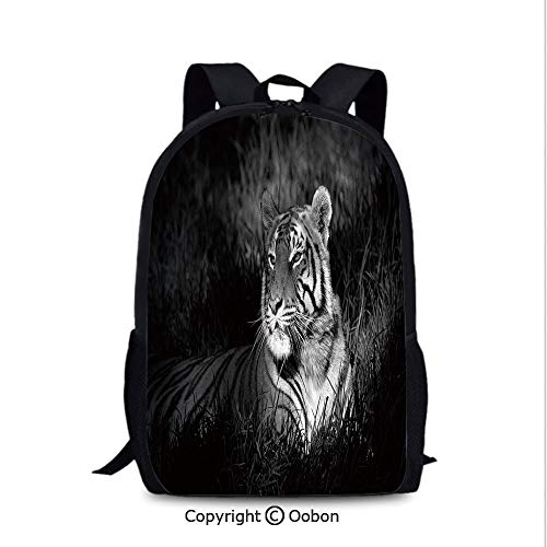 (Travel Waterproof Backpack, Bengal Tiger Lying in Grass Africa Savannah Monochrome Image, School Bag :Suitable for Men and Women, School, Travel, Daily use, etc.Black White)
