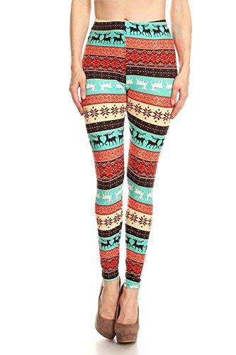 Women's Plus Reindeer Fair Isle Snowflake Pattern Printed Leggings