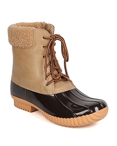 Nature Breeze Duck-02 Mix Media Shearling Lace up Zip Duck Boot - Taupe (Size: 7.5)